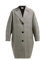 Mm6 Maison Margiela Prince Of Wales Checked Wool Blend Coat Grey Multi