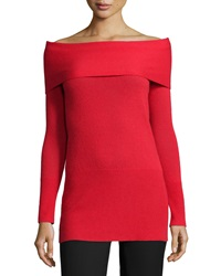 Halston Heritage Cashmere Off The Shoulder Long Sleeve Tunic Lipstick