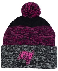 47 Brand '47 Tampa Bay Buccaneers Static Cuff Pom Knit Hat Black Pink Heather