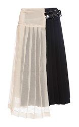 Marni Pleated Sheer Wraparound Skirt With Embellishments Pink