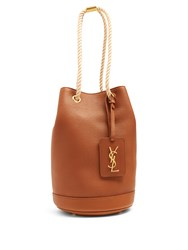Saint Laurent Seau Grained Leather Bucket Bag Tan
