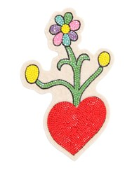 Olympia Le Tan Heart And Flowers Beaded Pin