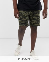 French Connection Plus Camo Jersey Shorts Green