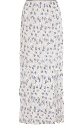 Tory Burch Avril Tiered Silk Georgette Maxi Skirt Off White