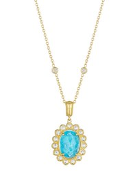 Penny Preville Oval Rose Cut Aquamarine And Rose Cut Diamond Scalloped Enhancer On 18 Chain