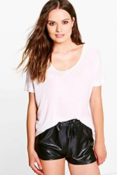 Boohoo V Neck Ribbed T Shirt Cream