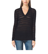 Michael Michael Kors Mesh Cotton Blend V Neck Sweater