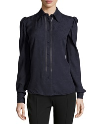 Zac Posen Long Sleeve Collared Button Up Blouse Black