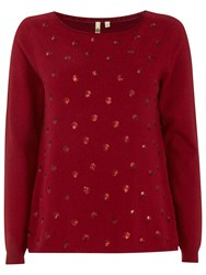 White Stuff Sequin Spot Jumper Rich Red