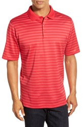 Bugatchi Men's Short Sleeve Stripe Cotton Polo Cherry