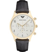 Emporio Armani Ar1892 Gold Plated And Leather Watch Bk1 Black 1