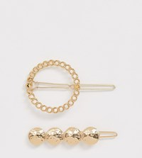 Accessorize Exclusive Multipack Hammered Effect Gold Hair Slide With Gold Chain Effect Circle Hair Slide