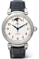 Iwc Schaffhausen Da Vinci Automatic Moon Phase 36 Alligator And Stainless Steel Watch Silver
