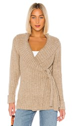 Heartloom Candance Wrap Sweater In Taupe. Oat