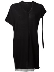 Lost And Found Ria Dunn Distressed Sleeve V Neck T Shirt Black