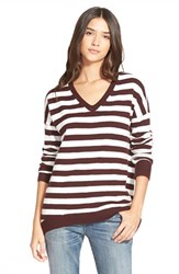 Women's Hinge Split Back Boyfriend Sweater Burgundy Fudge Stripe