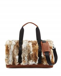 Adrienne Landau Rabbit Fur Nylon Duffle Bag Brown