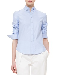 Akris Punto Button Front Sheer Back Shirt Bleached Denim