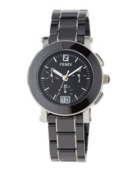 Fendi 38Mm Ceramic Chronograph Watch Black