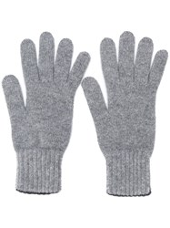 Pringle Of Scotland Gloves With Ribbed Details Grey