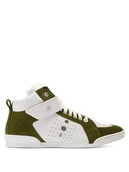 Jimmy Choo Lewis High Top Leather And Suede Trainers White Multi