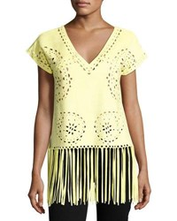 Alberto Makali Fringed Hem Faux Suede Top Yellow