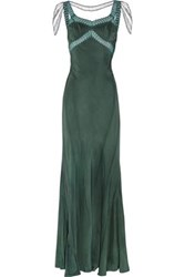 Erickson Beamon Embellished Silk Gown Forest Green