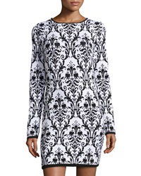 Neiman Marcus Floral Print Knit Sweaterdress Black White