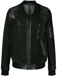 Blk Dnm Collarless Leather Mesh Like Jacket Black