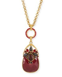 Jose And Maria Barrera Burgundy Crystal Pendant Necklace Red Yellow