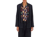 Giada Forte Women's Embroidered Linen Jacket Navy