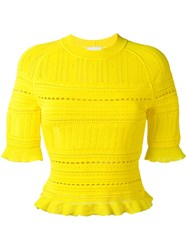 3.1 Phillip Lim Knitted Lace Detail Top Yellow Orange