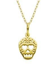 Lord And Taylor Sterling Silver Skull Pendant Necklace Gold