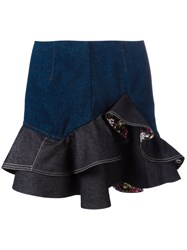 Alexander Mcqueen Floral Ruffled Mini Skirt Blue