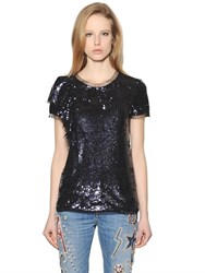 Amen Sequined Tulle And Jersey Top