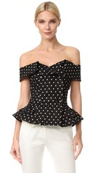 Monse Polka Dot Top Black White