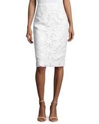 Milly Floral Burnout Pencil Skirt White