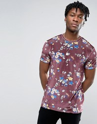 Asos Velvet T Shirt In Premium With All Over Floral Print Oxblood Red