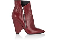Saint Laurent Women's Triangle Heel Leather Ankle Boots Black Burgundy
