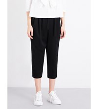 Comme Des Garcons Dropped Crotch Cropped Wool Twill Trousers Black