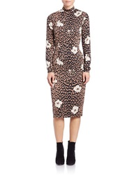 Essentiel Printed Mock Neck Sheath Dress Leopard