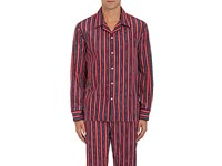 Sleepy Jones Men's Unversity Striped Poplin Pajama Shirt Red