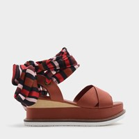 Charles And Keith Scarf Wrap Ankle Strap Flatforms Brick