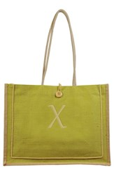 Cathy's Concepts 'Newport' Personalized Jute Tote Green Green X