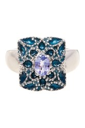 Olivia Leone Sterling Silver Enamel And Oval Tanzanite Ring Blue