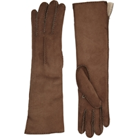 Barneys New York Shearling Lined Long Gloves Brown
