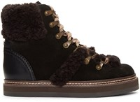 See By Chloe Black Lace Up Ski Boots