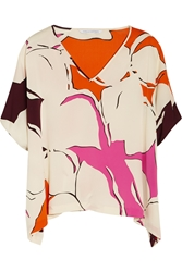 Diane Von Furstenberg Adria Printed Stretch Silk Top