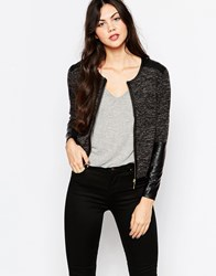 Wal G Cardigan With Pu Details And Zip Front Black