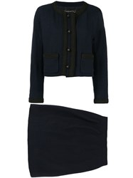 Chanel Vintage Two Piece Skirt Suit Blue